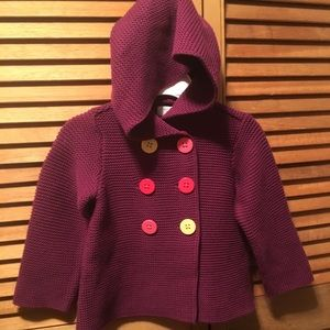 NWT First Impressions Baby Girls Double-breasted Hooded SWEATER Coat Jacket 24 M